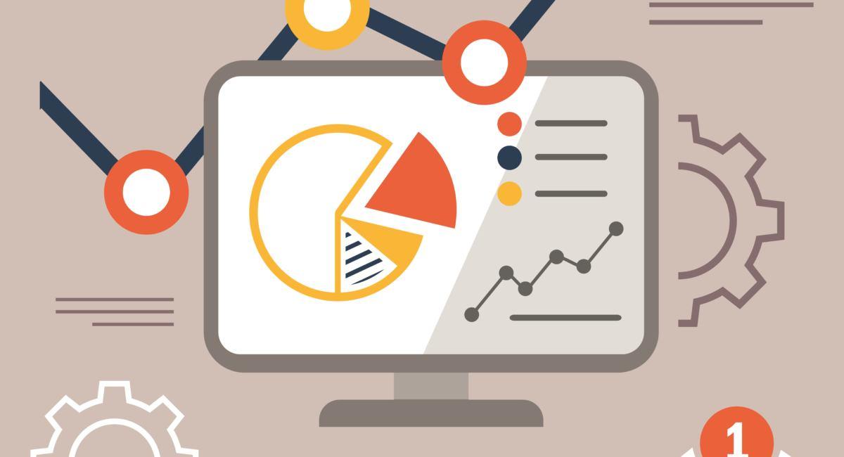 Grafik mit PC, E-Mail Icon, Diagrammen zu SEO Analyse