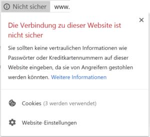 Kennzeichnung der Websites ohne SSL