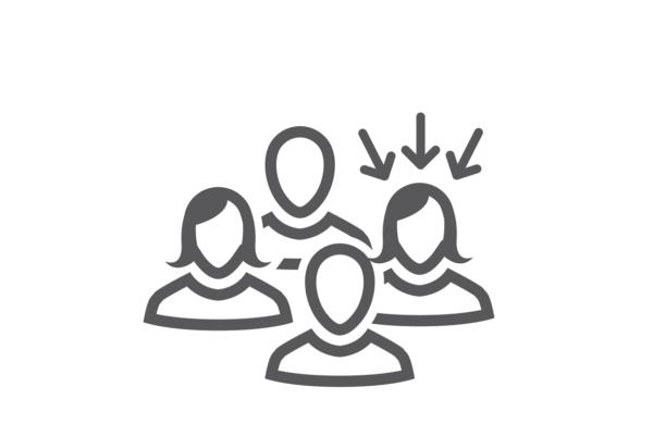 Grafik in grau - Zielgruppe von 4 Personen und potenziellem Kunden. 4 Köpfe auf einen zeigen 3 Pfeiler