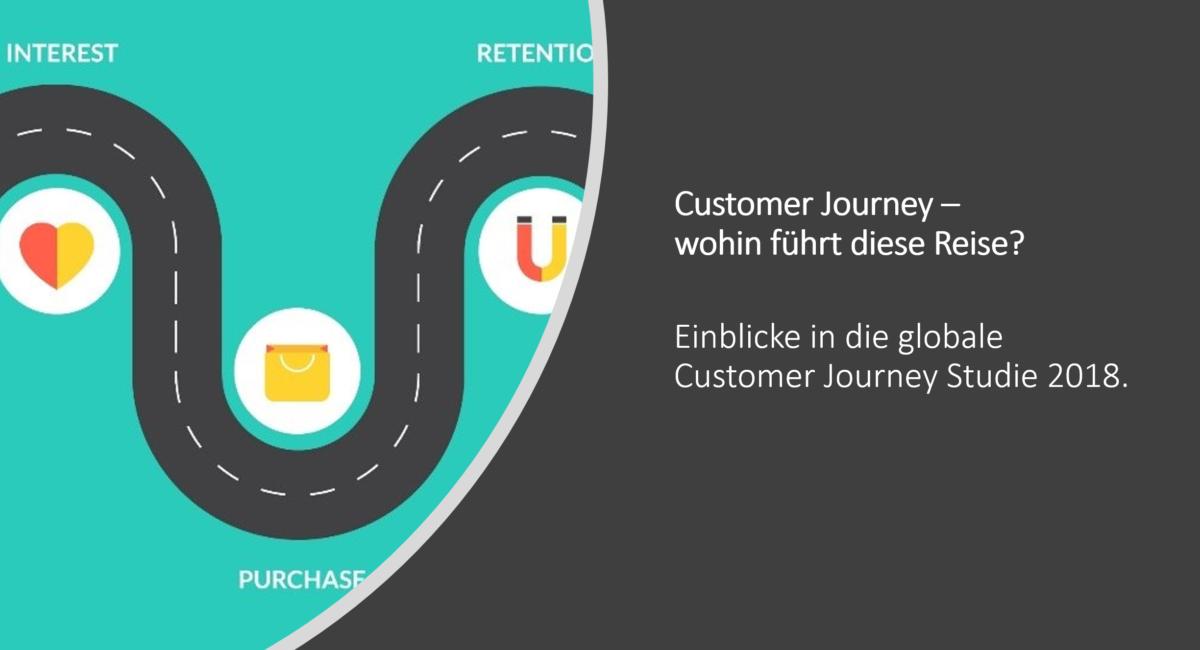 Customer Journey Mapping Studie 2018 Titelbild. Ein Pfad mit Stationen Interesse, Kauf, Weiterempfehlung.